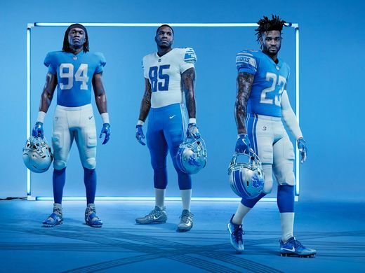 NFB Detroit lions blue color rush jerseys - lions